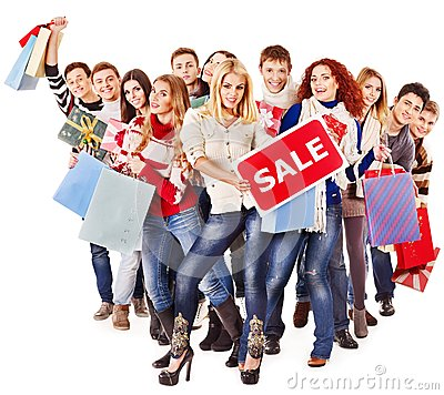 Free Group People With Board Sale. Royalty Free Stock Images - 27849649