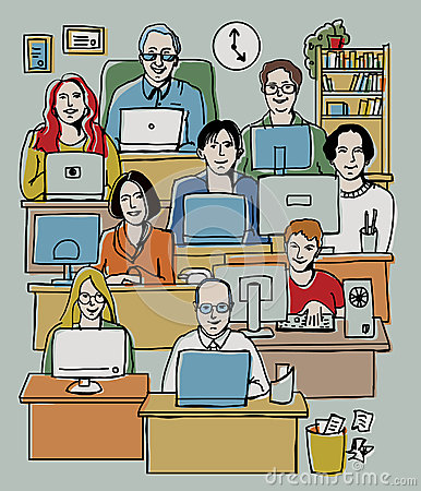 Group people working in office