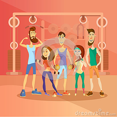 Group of people working out in a gym and dressed in sports clothes. Fitness cartoon people characters. Vector Vector Illustration