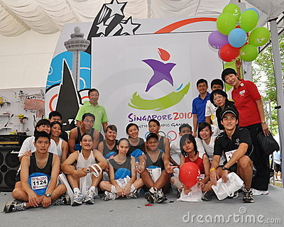 Group photo during Youth Olympic Games logo launch Editorial Photo