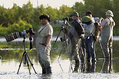 Group of photographers in water. Editorial Stock Photo