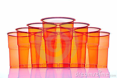 Group of plastic glasses