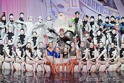 Group portrait of actors and swimmers Editorial Stock Photo