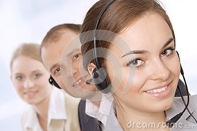 Group portrait of happy customer service people