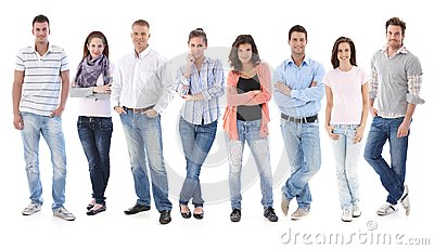 Group portrait of happy young casual people