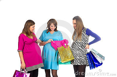 Group of pregnant women with shopping bags