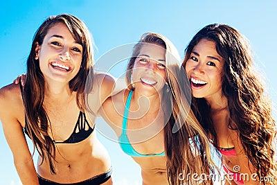 Group of Pretty Girls in Bikinis, Best Friends