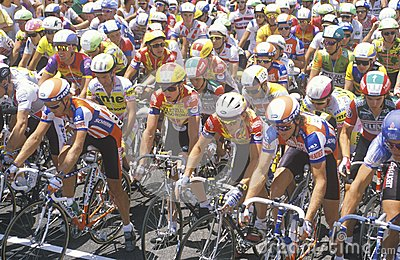 Group of Professional bicycling racers Editorial Photo