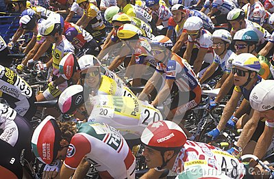 Group of Professional bicycling racers Editorial Stock Image