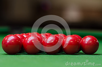 A group of red snooker balls