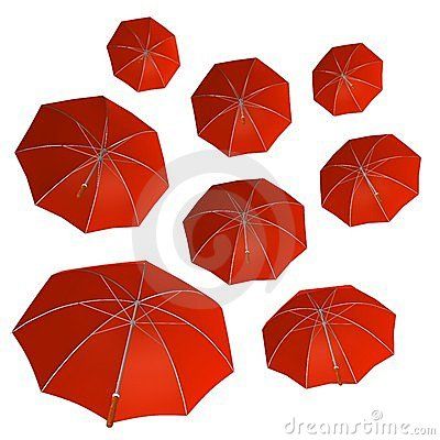 GROUP OF RED UMBRELLA
