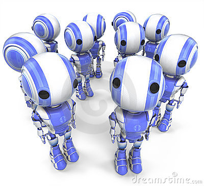 Group of robotic men