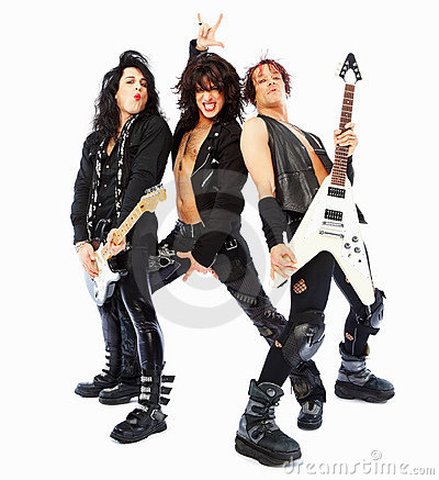Group of rockers posing over white background