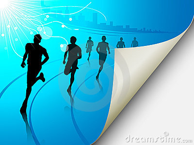 Group of runners on a blue cityscape background