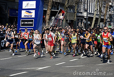 A group of runners in start-1 Editorial Stock Photo