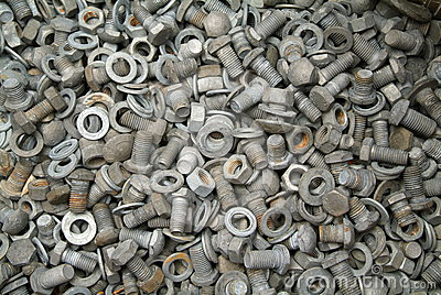 Group of rusted bolts