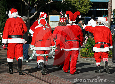 Group of Santa Clauses  Editorial Image