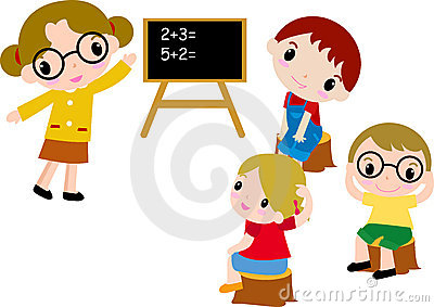 A group of school kids of math