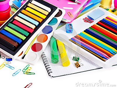 Group of school supplies.