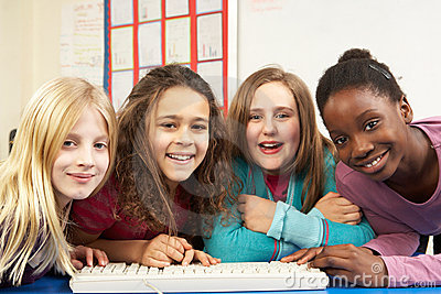 Group Of Schoolgirls In IT Class