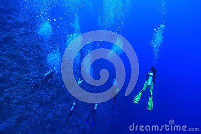 Group of scuba divers Editorial Stock Image