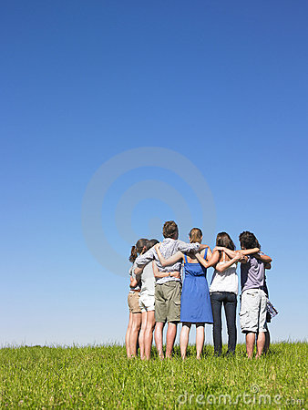 Group in semicircle