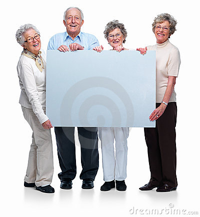 Group of senior people holding a blank board