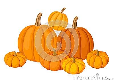 Group of seven orange pumpkins.