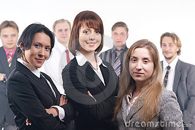 A group of seven young business people
