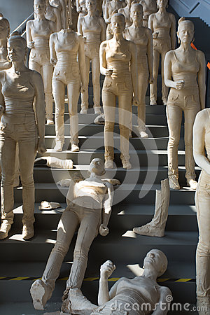 Group of sexy plastered women sculptures in a museum in Shanghai