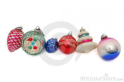 Group of six Christmas ornaments