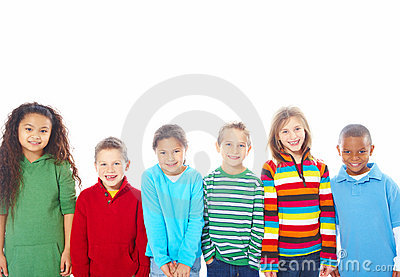 Group of six happy children standing in a row