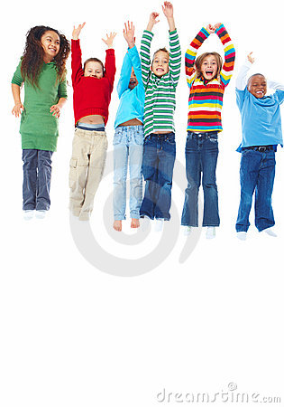 Group of six kids standing in a row and jumping