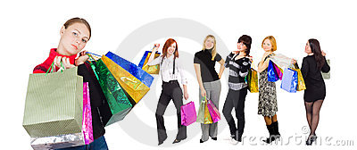 Group of six shopping girls