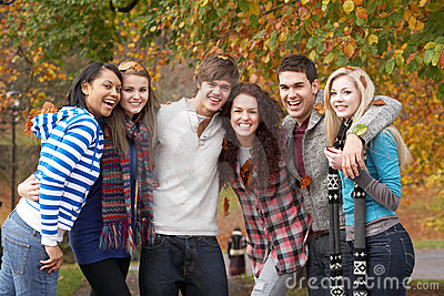 Group Of Six Teenage Friends Having Fun