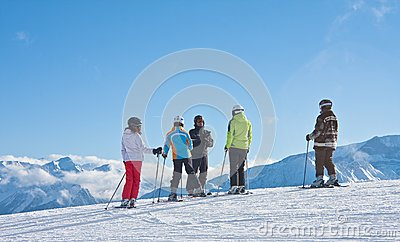 The group of skiers and instructor Editorial Stock Photo