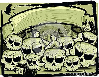 Group of skull in sepia