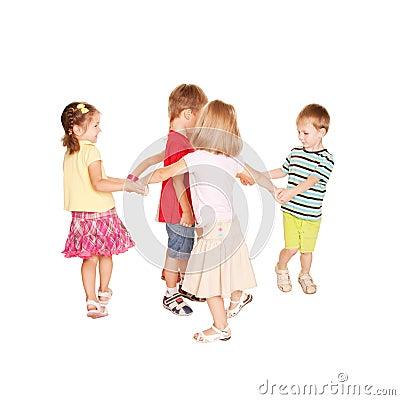 Group of small kids dancing, having fun.