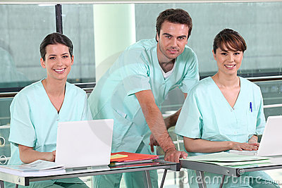 Group of smiling nurses in hospital