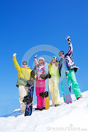 Group of snowboard friends