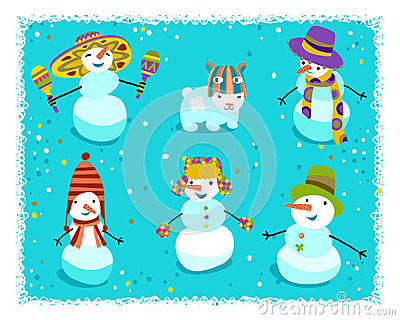 Group of snowmen with cute details