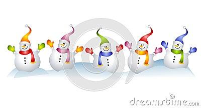 Group of snowmen snowman clip art royalty free stock - Clipart bonhomme de neige ...