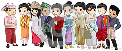 Group of Southeast Asia people with different race