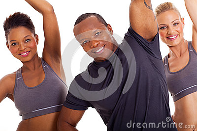 Group stretching arms