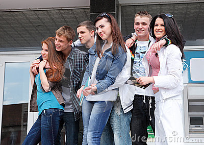 Group students against the background an acad