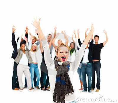 Group of students celebrating- success