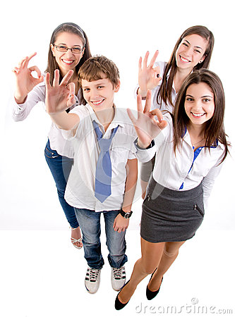 Group of  students giving ok sign