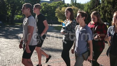 Group of students going to lecture in university stock video footage