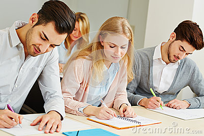 Group studying in university class