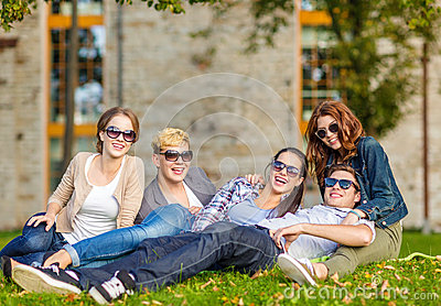 Group of students or teenagers hanging out